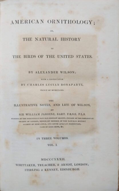 Title page from 1832 American Ornithology by Alexander Wilson
